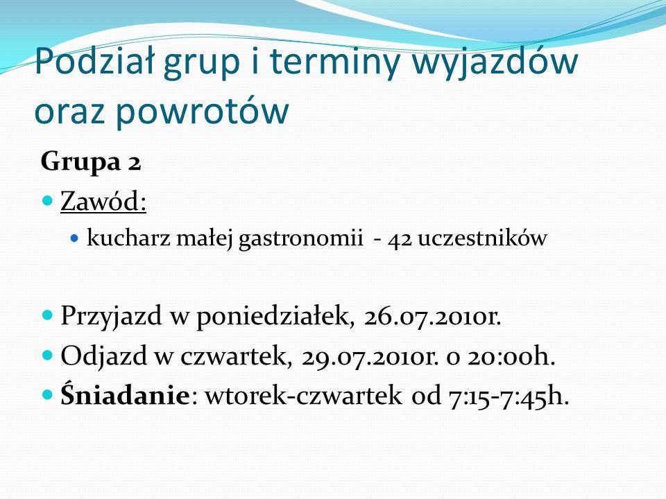 Podział grup i terminy wyjazdów oraz powrotów Grupa 2 Zawód: kucharz małej gastronomii- 42 uczestników Przyjazd w poniedziałek, 26.07.2010r. Odjazd w