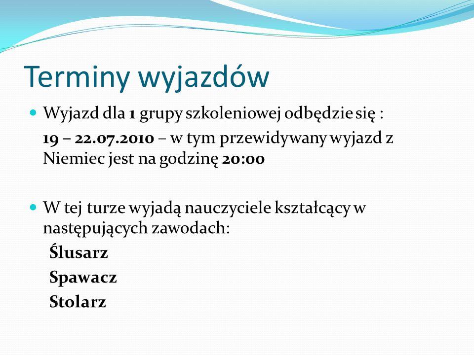 Podział grup i terminy wyjazdów oraz powrotów Grupa 2 Zawód: kucharz małej gastronomii- 42 uczestników Przyjazd w poniedziałek, 26.07.2010r.