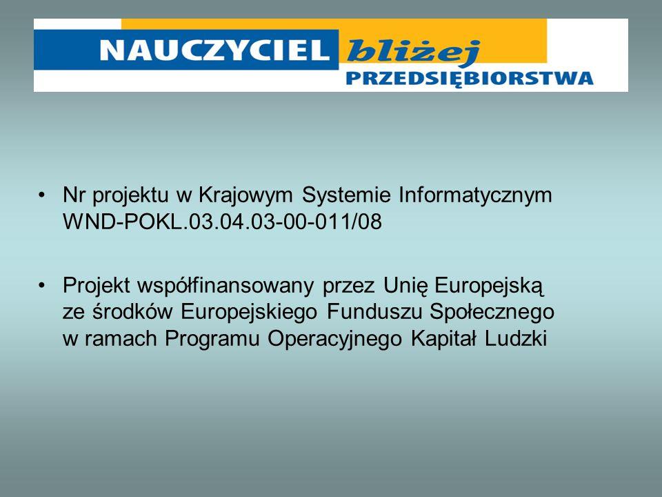Nr projektu w Krajowym Systemie Informatycznym WND-POKL.03.04.03-00-011/08 Projekt współfinansowany przez Unię Europejską ze środków Europejskiego Fun