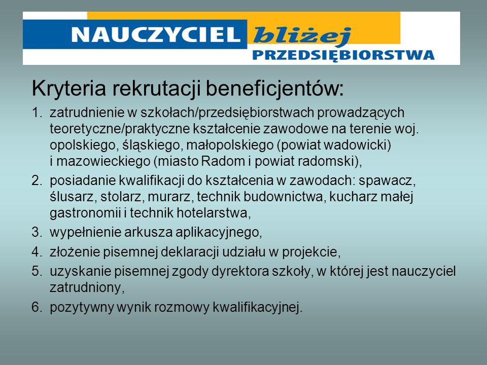 Kryteria rekrutacji beneficjentów: 1.zatrudnienie w szkołach/przedsiębiorstwach prowadzących teoretyczne/praktyczne kształcenie zawodowe na terenie wo