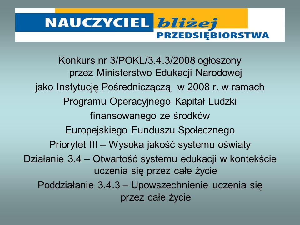 Konkurs nr 3/POKL/3.4.3/2008 ogłoszony przez Ministerstwo Edukacji Narodowej jako Instytucję Pośredniczączą w 2008 r. w ramach Programu Operacyjnego K