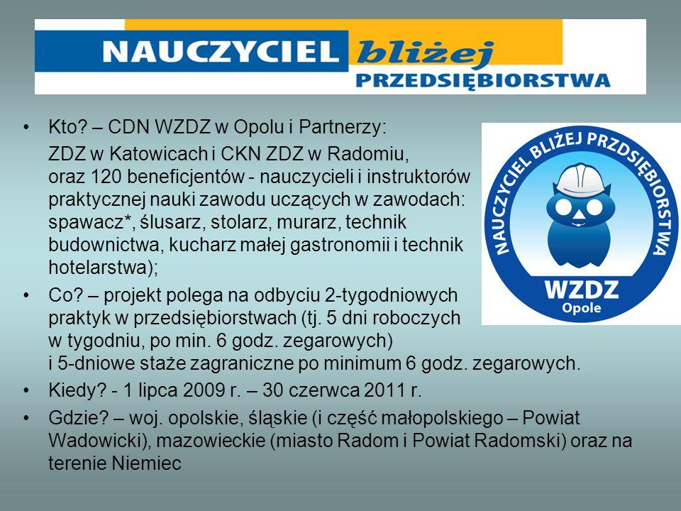 Kto? – CDN WZDZ w Opolu i Partnerzy: ZDZ w Katowicach i CKN ZDZ w Radomiu, oraz 120 beneficjentów - nauczycieli i instruktorów praktycznej nauki zawod