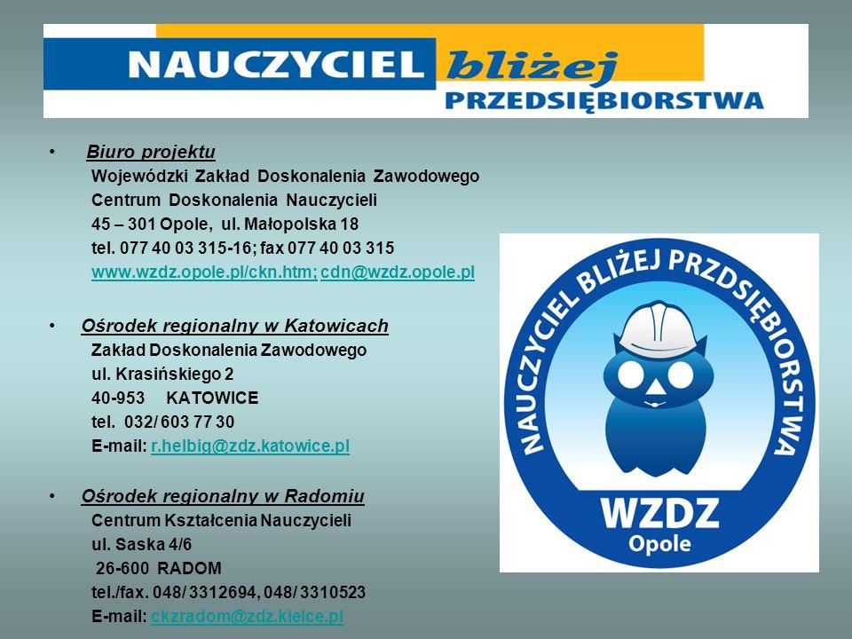 Biuro projektu Wojewódzki Zakład Doskonalenia Zawodowego Centrum Doskonalenia Nauczycieli 45 – 301 Opole, ul. Małopolska 18 tel. 077 40 03 315-16; fax