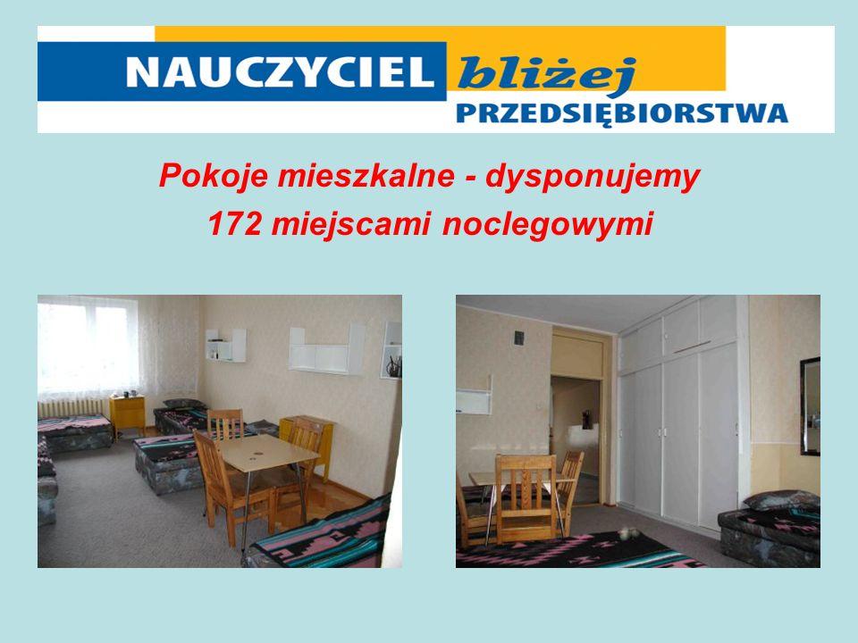 Pokoje mieszkalne - dysponujemy 172 miejscami noclegowymi