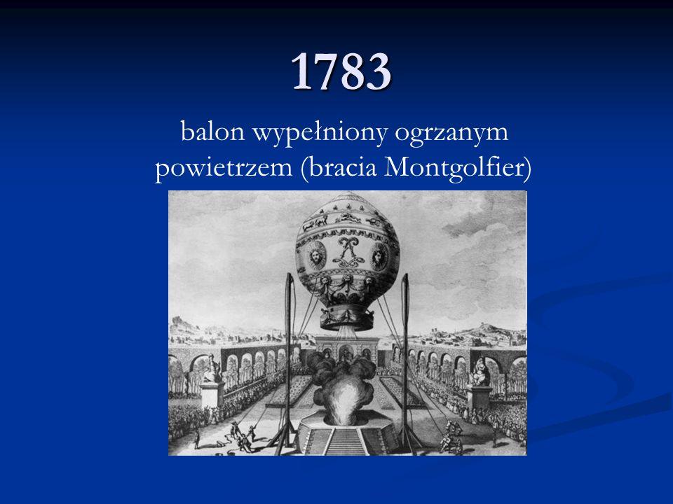 1783 balon wypełniony ogrzanym powietrzem (bracia Montgolfier)