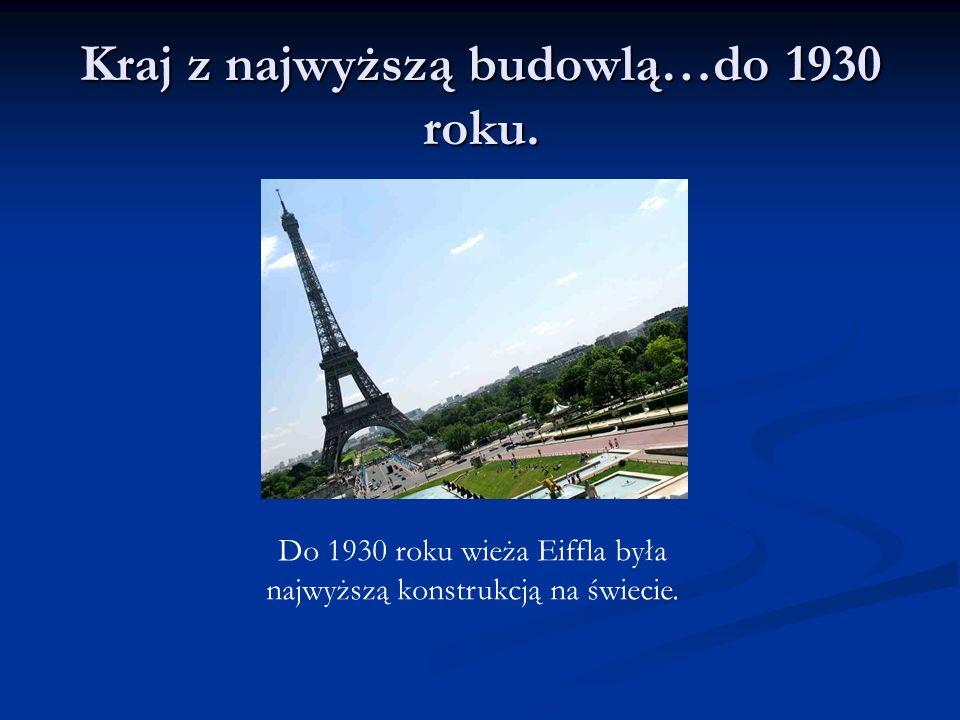 Kraj z najwyższą budowlą…do 1930 roku. Do 1930 roku wieża Eiffla była najwyższą konstrukcją na świecie.
