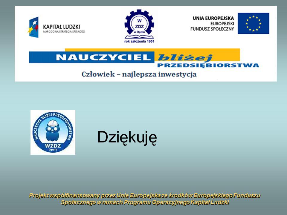 Projekt współfinansowany przez Unię Europejską ze środków Europejskiego Funduszu Społecznego w ramach Programu Operacyjnego Kapitał Ludzki Dziękuję