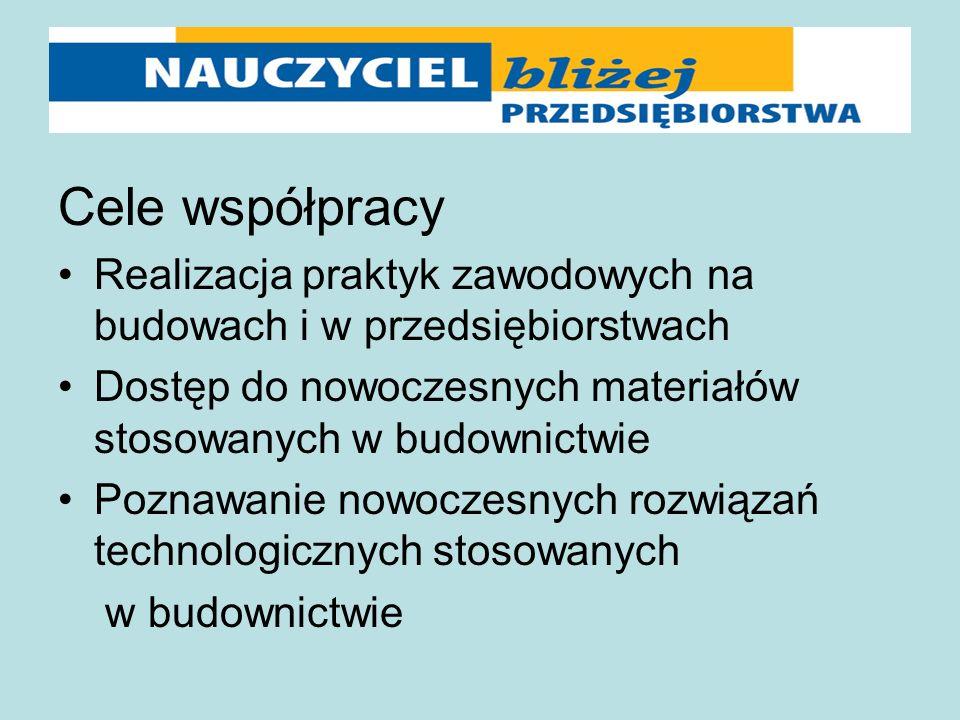 Cele współpracy Realizacja praktyk zawodowych na budowach i w przedsiębiorstwach Dostęp do nowoczesnych materiałów stosowanych w budownictwie Poznawan
