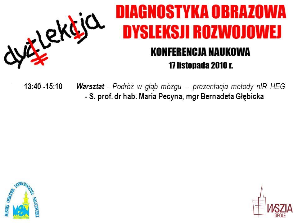 13:40 -15:10 Warsztat - Podróż w głąb mózgu - prezentacja metody nIR HEG - S. prof. dr hab. Maria Pecyna, mgr Bernadeta Głębicka