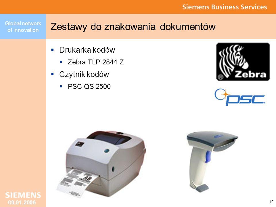 Global network of innovation 10 09.01.2006 Zestawy do znakowania dokumentów Drukarka kodów Zebra TLP 2844 Z Czytnik kodów PSC QS 2500