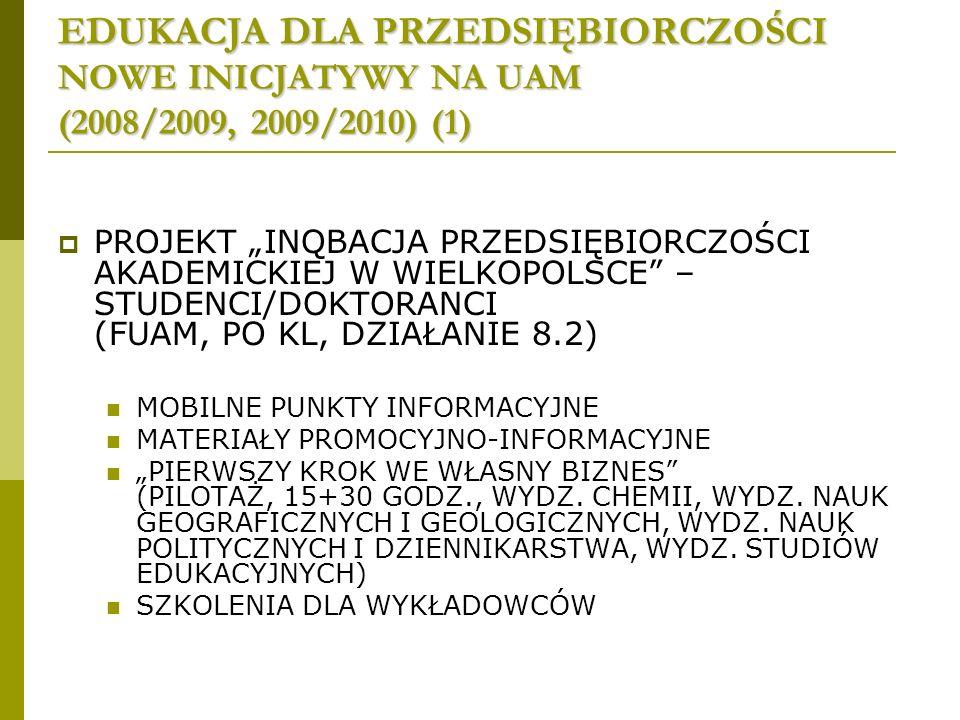 EDUKACJA DLA PRZEDSIĘBIORCZOŚCI NOWE INICJATYWY NA UAM (2008/2009, 2009/2010) (1) PROJEKT INQBACJA PRZEDSIĘBIORCZOŚCI AKADEMICKIEJ W WIELKOPOLSCE – STUDENCI/DOKTORANCI (FUAM, PO KL, DZIAŁANIE 8.2) MOBILNE PUNKTY INFORMACYJNE MATERIAŁY PROMOCYJNO-INFORMACYJNE PIERWSZY KROK WE WŁASNY BIZNES (PILOTAŻ, 15+30 GODZ., WYDZ.