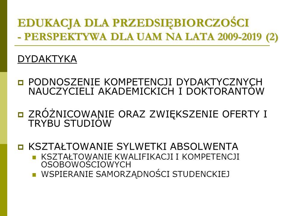 EDUKACJA DLA PRZEDSIĘBIORCZOŚCI - PERSPEKTYWA DLA UAM NA LATA 2009-2019 (2) DYDAKTYKA PODNOSZENIE KOMPETENCJI DYDAKTYCZNYCH NAUCZYCIELI AKADEMICKICH I DOKTORANTÓW ZRÓŻNICOWANIE ORAZ ZWIĘKSZENIE OFERTY I TRYBU STUDIÓW KSZTAŁTOWANIE SYLWETKI ABSOLWENTA KSZTAŁTOWANIE KWALIFIKACJI I KOMPETENCJI OSOBOWOŚCIOWYCH WSPIERANIE SAMORZĄDNOŚCI STUDENCKIEJ