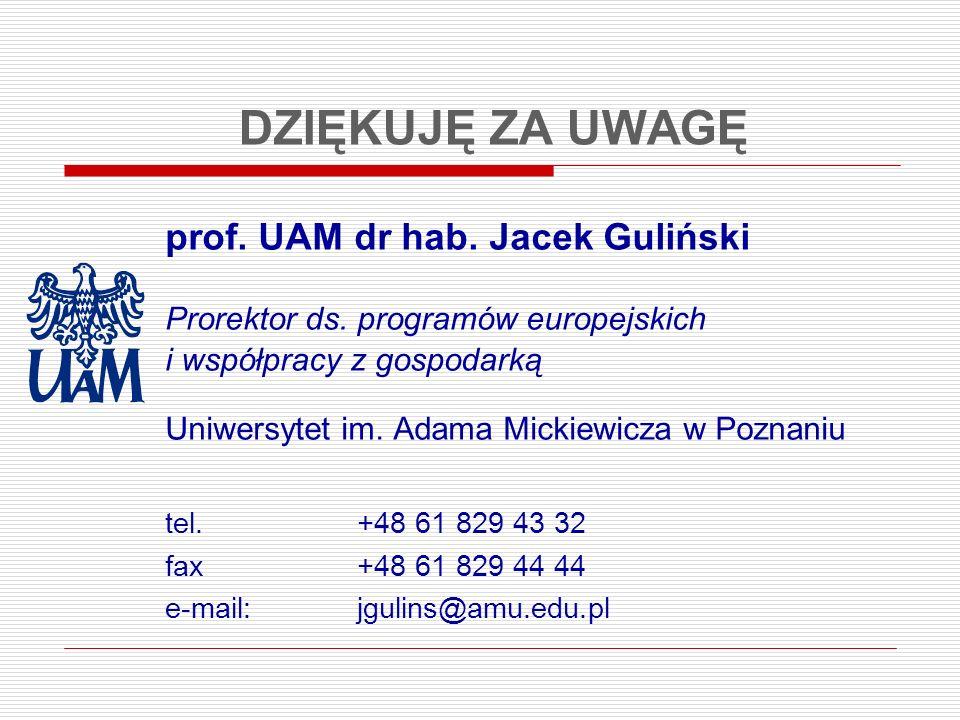 DZIĘKUJĘ ZA UWAGĘ prof. UAM dr hab. Jacek Guliński Prorektor ds. programów europejskich i współpracy z gospodarką Uniwersytet im. Adama Mickiewicza w