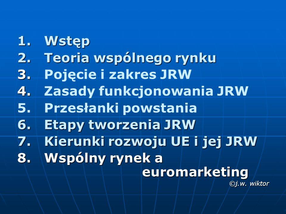 JRW stanowi przestrzeń bez granic wewnętrznych, w ramach której jest zagwarantowana swoboda przepływu towarów, osób, usług i kapitału JRW stanowi przestrzeń bez granic wewnętrznych, w ramach której jest zagwarantowana swoboda przepływu towarów, osób, usług i kapitału (oficjalna, unijna definicja, zawarta w Jednolitym Akcie Europejskim i Białej Księdze Rynku Wewnętrznego) JRW to obszar 27 państw z jednolitą (lub znacznie ujednoliconą) sferą regulacji mechanizmu rynkowego JRW to obszar 27 państw z jednolitą (lub znacznie ujednoliconą) sferą regulacji mechanizmu rynkowego