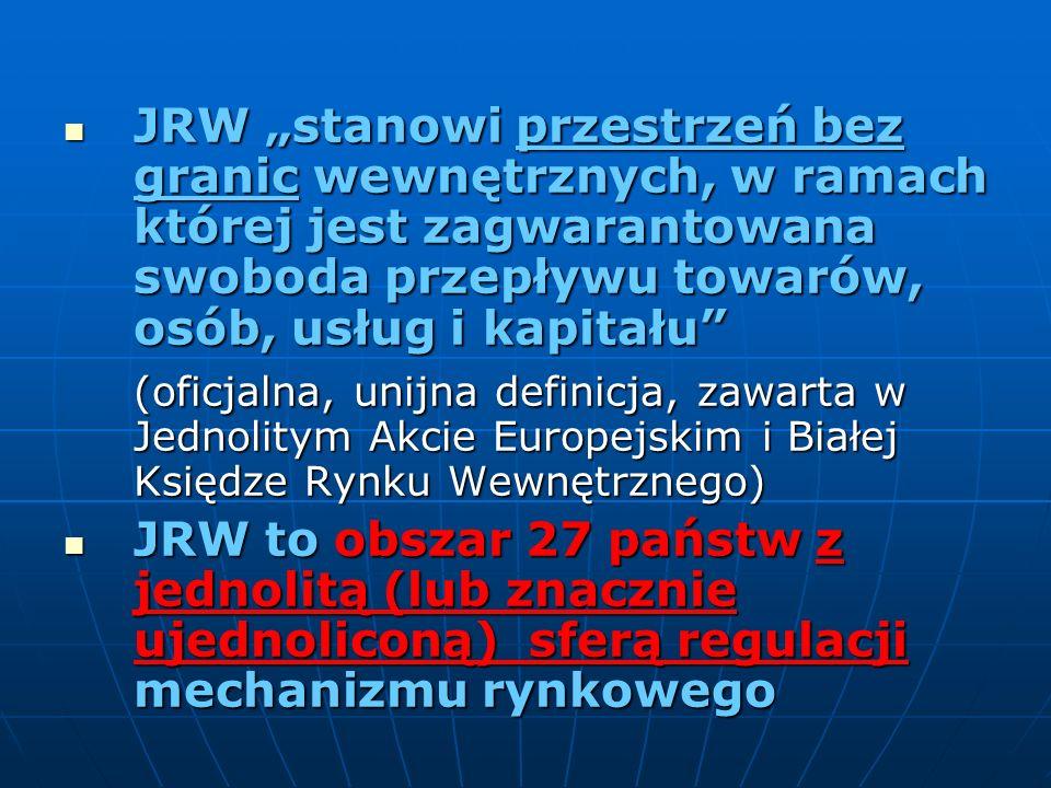 JRW stanowi przestrzeń bez granic wewnętrznych, w ramach której jest zagwarantowana swoboda przepływu towarów, osób, usług i kapitału JRW stanowi prze