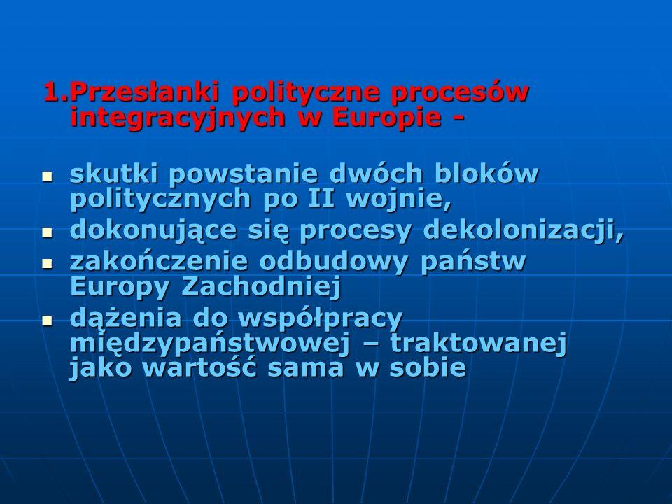 1.Przesłanki polityczne procesów integracyjnych w Europie - skutki powstanie dwóch bloków politycznych po II wojnie, skutki powstanie dwóch bloków pol