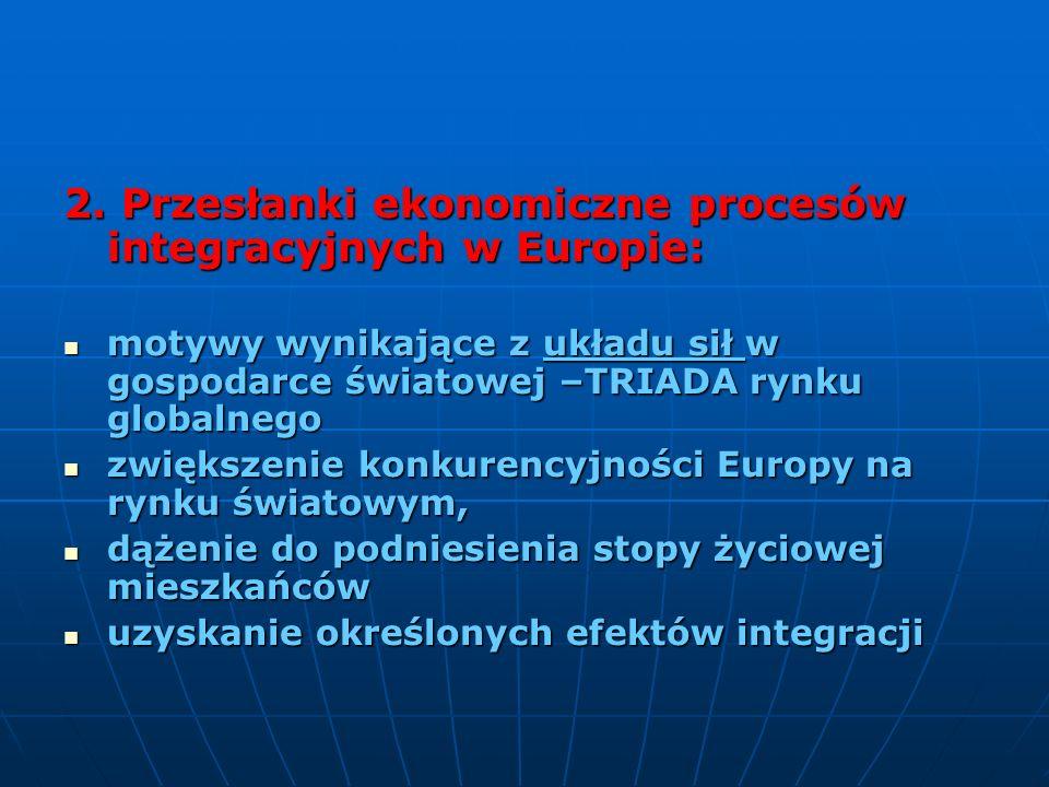 2. Przesłanki ekonomiczne procesów integracyjnych w Europie: motywy wynikające z układu sił w gospodarce światowej –TRIADA rynku globalnego motywy wyn