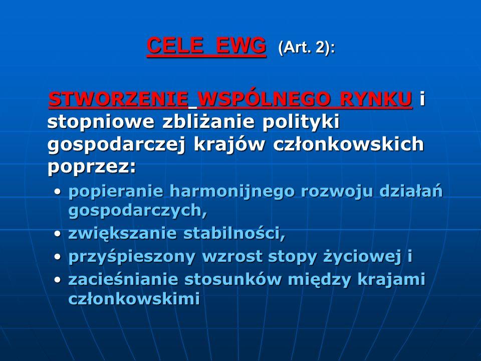 CELE EWG (Art. 2): STWORZENIE WSPÓLNEGO RYNKU i stopniowe zbliżanie polityki gospodarczej krajów członkowskich poprzez: STWORZENIE WSPÓLNEGO RYNKU i s