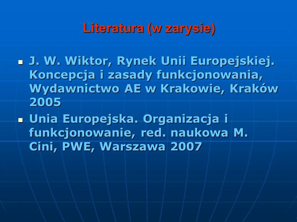 Literatura (w zarysie) J. W. Wiktor, Rynek Unii Europejskiej. Koncepcja i zasady funkcjonowania, Wydawnictwo AE w Krakowie, Kraków 2005 J. W. Wiktor,