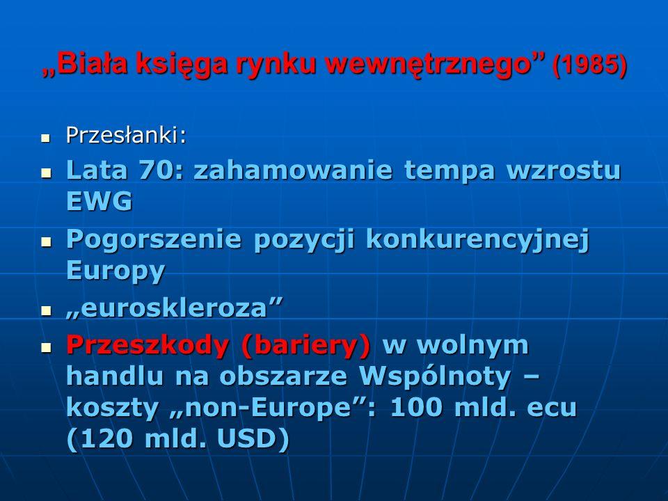 Biała księga rynku wewnętrznego (1985) Przesłanki: Przesłanki: Lata 70: zahamowanie tempa wzrostu EWG Lata 70: zahamowanie tempa wzrostu EWG Pogorszen
