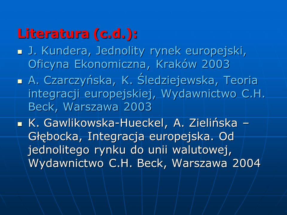 Literatura (c.d.): J. Kundera, Jednolity rynek europejski, Oficyna Ekonomiczna, Kraków 2003 J. Kundera, Jednolity rynek europejski, Oficyna Ekonomiczn