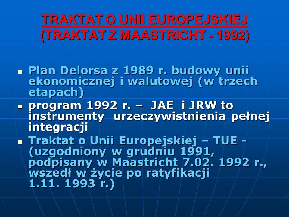 TRAKTAT O UNII EUROPEJSKIEJ (TRAKTAT Z MAASTRICHT - 1992) Plan Delorsa z 1989 r. budowy unii ekonomicznej i walutowej (w trzech etapach) Plan Delorsa