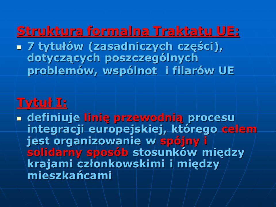 Struktura formalna Traktatu UE: 7 tytułów (zasadniczych części), dotyczących poszczególnych problemów, wspólnot i filarów UE 7 tytułów (zasadniczych c