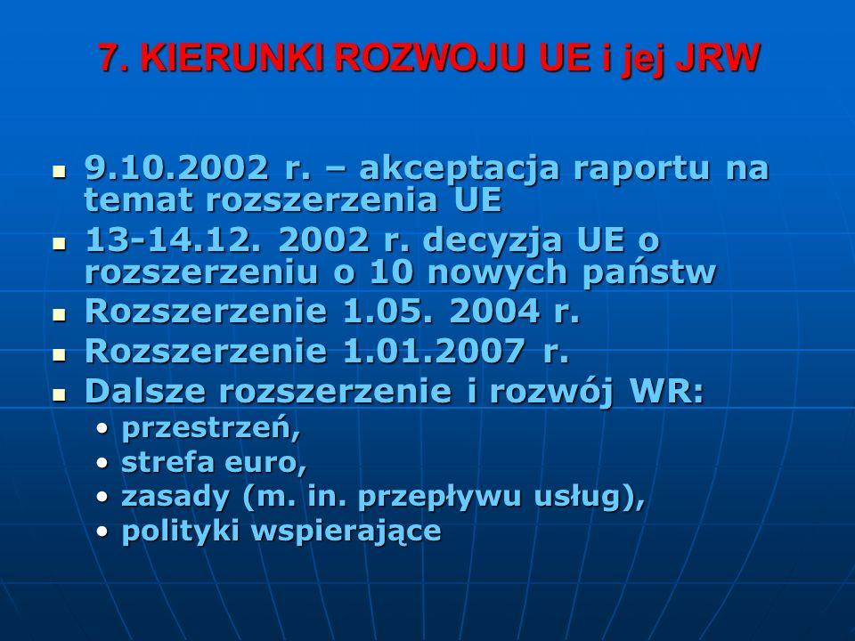 7. KIERUNKI ROZWOJU UE i jej JRW 9.10.2002 r. – akceptacja raportu na temat rozszerzenia UE 9.10.2002 r. – akceptacja raportu na temat rozszerzenia UE