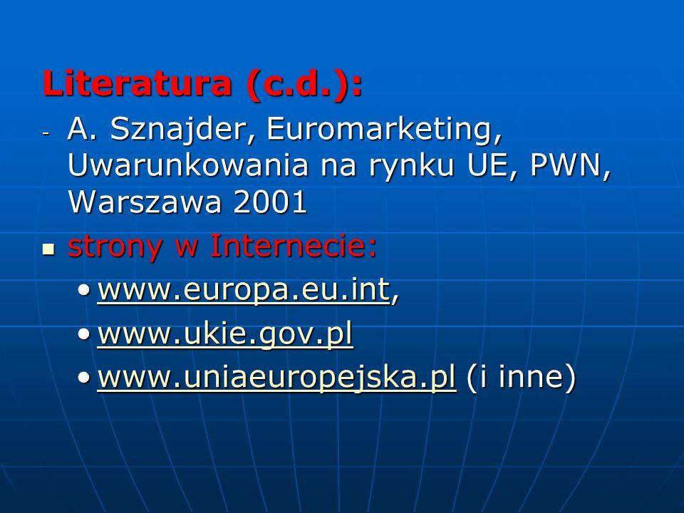 Literatura (c.d.): - A. Sznajder, Euromarketing, Uwarunkowania na rynku UE, PWN, Warszawa 2001 strony w Internecie: strony w Internecie: www.europa.eu