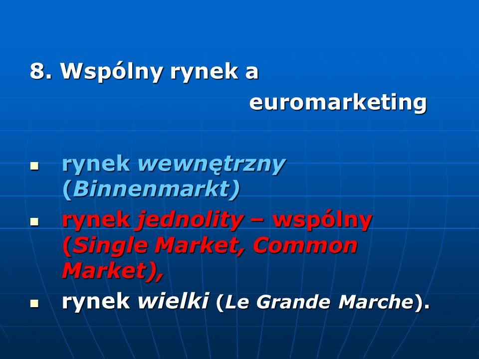 8. Wspólny rynek a euromarketing euromarketing rynek wewnętrzny (Binnenmarkt) rynek wewnętrzny (Binnenmarkt) rynek jednolity – wspólny (Single Market,