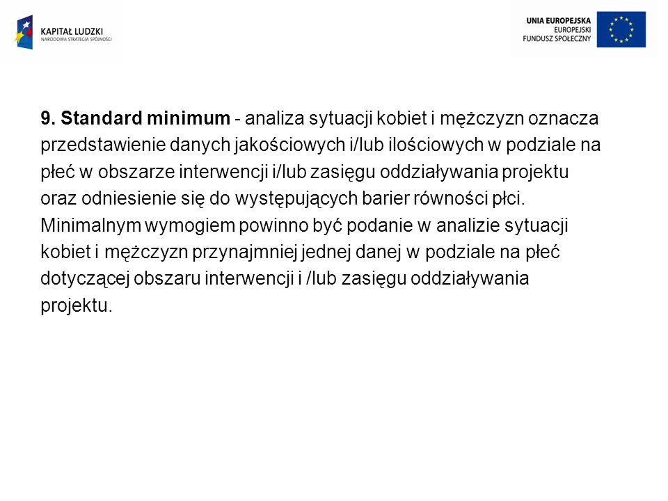 9. Standard minimum - analiza sytuacji kobiet i mężczyzn oznacza przedstawienie danych jakościowych i/lub ilościowych w podziale na płeć w obszarze in