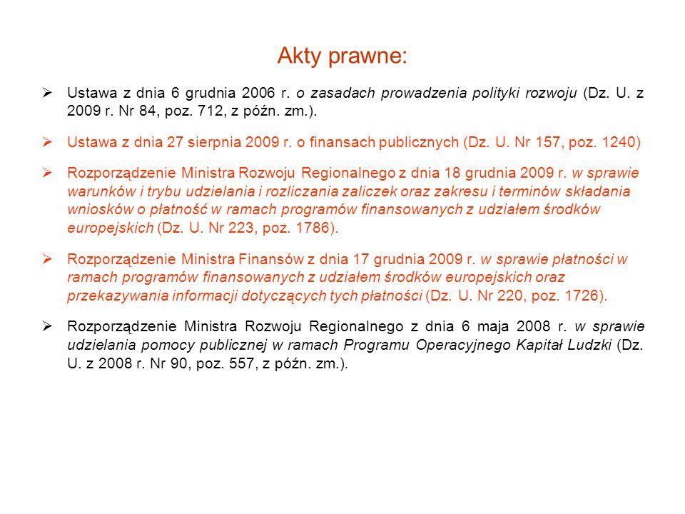 Akty prawne: Ustawa z dnia 6 grudnia 2006 r. o zasadach prowadzenia polityki rozwoju (Dz. U. z 2009 r. Nr 84, poz. 712, z późn. zm.). Ustawa z dnia 27