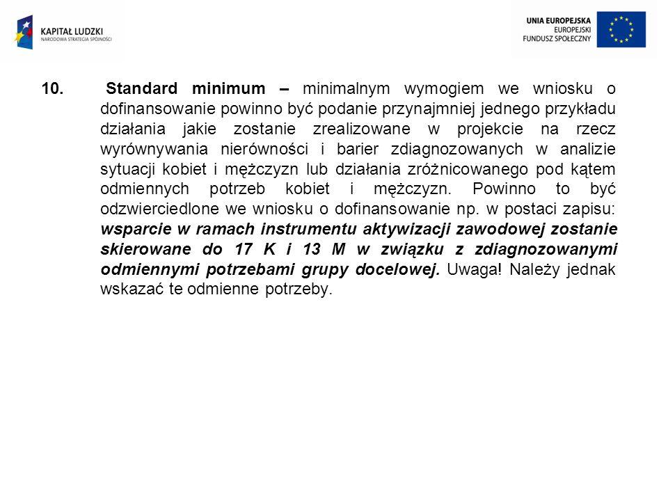 10. Standard minimum – minimalnym wymogiem we wniosku o dofinansowanie powinno być podanie przynajmniej jednego przykładu działania jakie zostanie zre
