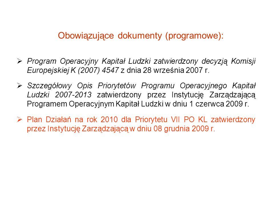 Obowiązujące dokumenty (programowe): Program Operacyjny Kapitał Ludzki zatwierdzony decyzją Komisji Europejskiej K (2007) 4547 z dnia 28 września 2007