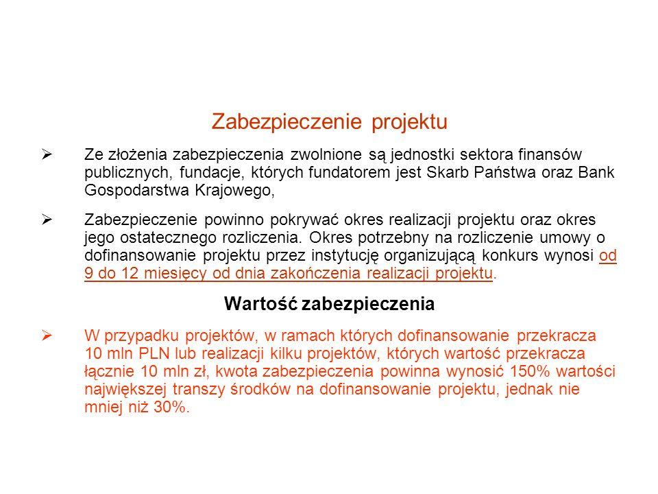 Zabezpieczenie projektu Ze złożenia zabezpieczenia zwolnione są jednostki sektora finansów publicznych, fundacje, których fundatorem jest Skarb Państw