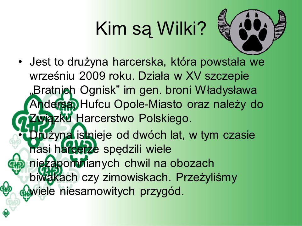 Kim są Wilki? Jest to drużyna harcerska, która powstała we wrześniu 2009 roku. Działa w XV szczepie Bratnich Ognisk im gen. broni Władysława Andersa,