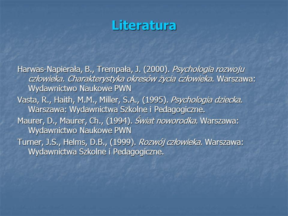 Literatura Harwas-Napierała, B., Trempała, J. (2000). Psychologia rozwoju człowieka. Charakterystyka okresów życia człowieka. Warszawa: Wydawnictwo Na