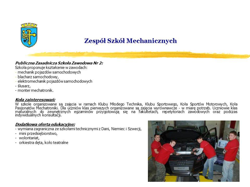 Zespół Szkół Mechanicznych Publiczna Zasadnicza Szkoła Zawodowa Nr 2: Szkoła proponuje kształcenie w zawodach: - mechanik pojazdów samochodowych - bla