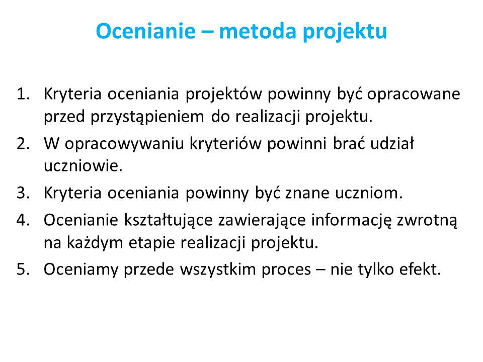 Ocenianie – metoda projektu 1.Kryteria oceniania projektów powinny być opracowane przed przystąpieniem do realizacji projektu. 2.W opracowywaniu kryte