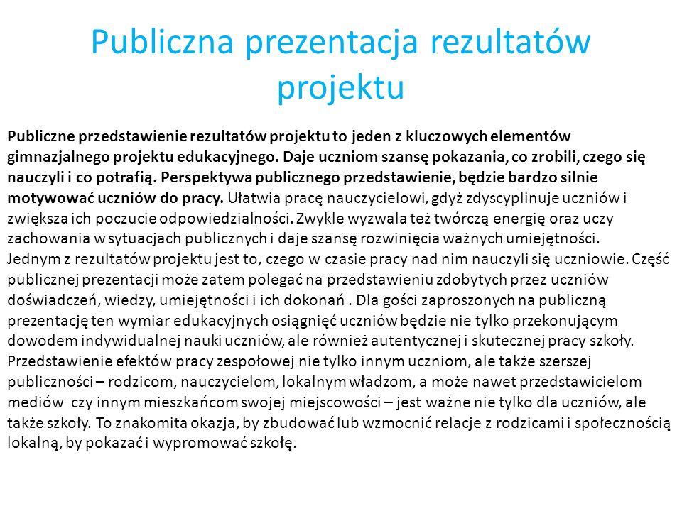 Publiczna prezentacja rezultatów projektu Publiczne przedstawienie rezultatów projektu to jeden z kluczowych elementów gimnazjalnego projektu edukacyj