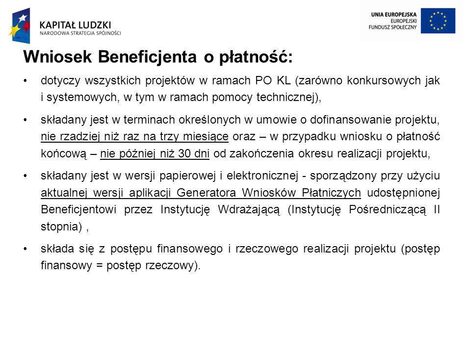 Wniosek Beneficjenta o płatność: dotyczy wszystkich projektów w ramach PO KL (zarówno konkursowych jak i systemowych, w tym w ramach pomocy techniczne