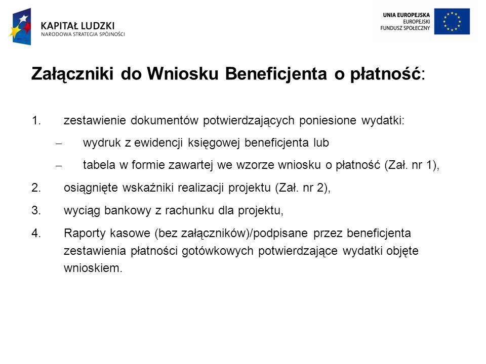 Załączniki do Wniosku Beneficjenta o płatność: 1.zestawienie dokumentów potwierdzających poniesione wydatki: – wydruk z ewidencji księgowej beneficjen