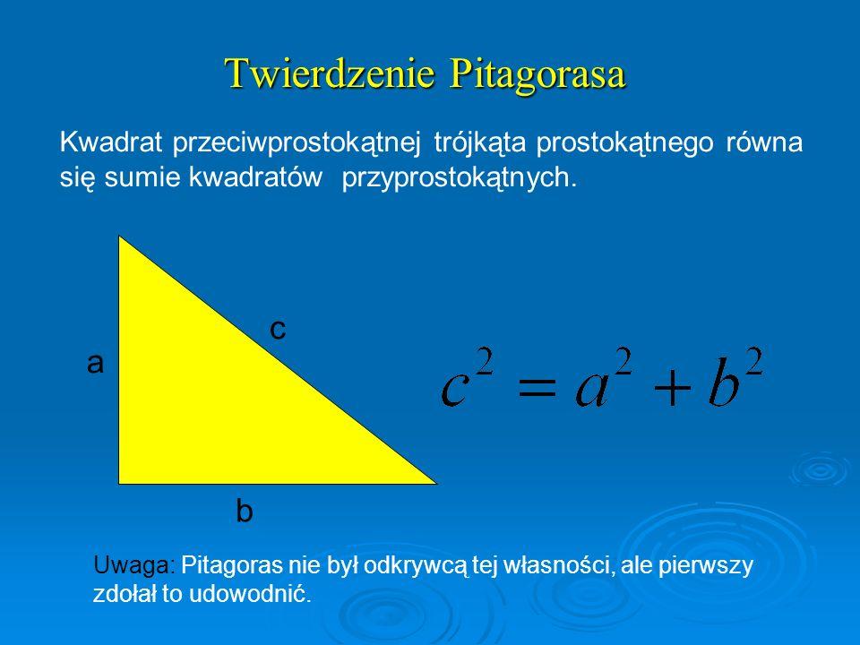 Twierdzenie Pitagorasa Kwadrat przeciwprostokątnej trójkąta prostokątnego równa się sumie kwadratów przyprostokątnych. a c b Uwaga: Pitagoras nie był