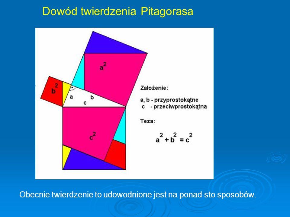 Dowód twierdzenia Pitagorasa Obecnie twierdzenie to udowodnione jest na ponad sto sposobów..