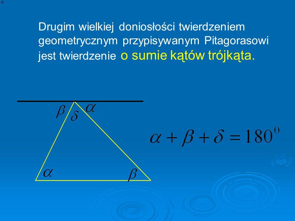 Drugim wielkiej doniosłości twierdzeniem geometrycznym przypisywanym Pitagorasowi jest twierdzenie o sumie kątów trójkąta..