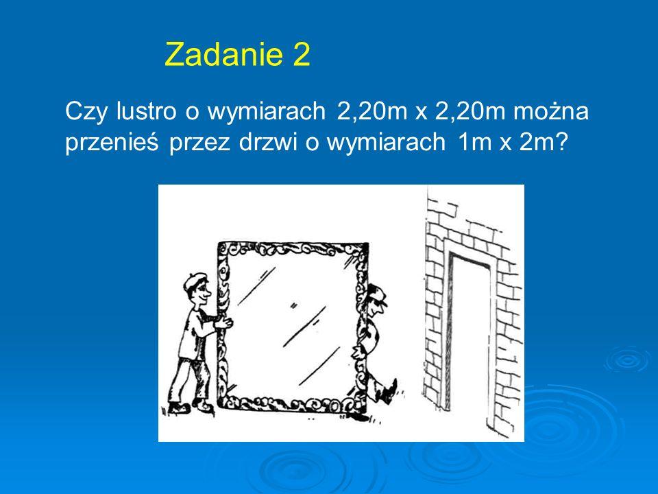 Zadanie 2 Czy lustro o wymiarach 2,20m x 2,20m można przenieś przez drzwi o wymiarach 1m x 2m?.