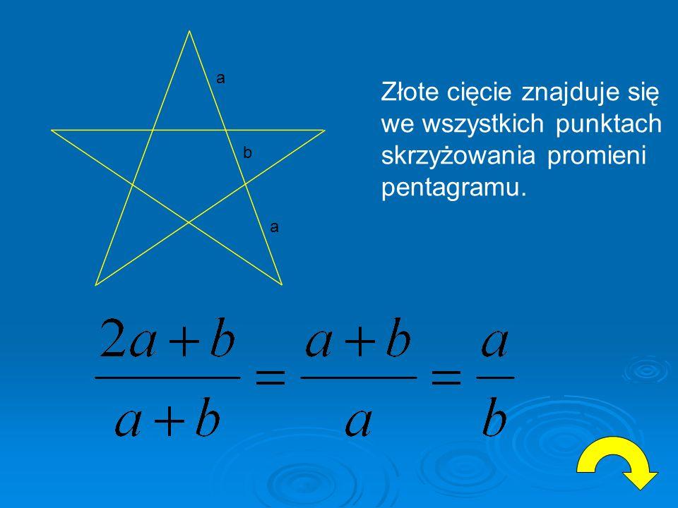 a a b Złote cięcie znajduje się we wszystkich punktach skrzyżowania promieni pentagramu..