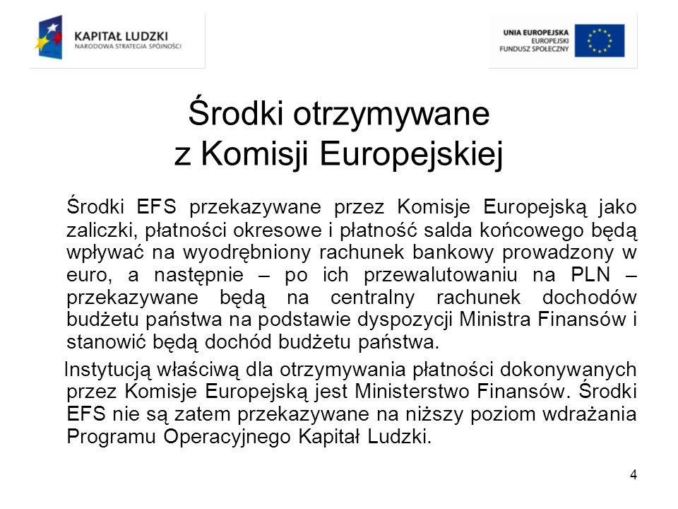 5 Środki na finansowanie Programu Środki na finansowanie projektów PO KL pochodzą ze źródeł krajowych, tj.: budżetu środków europejskich, budżetu państwa, budżetu jednostek samorządu terytorialnego, innych środków publicznych tj.