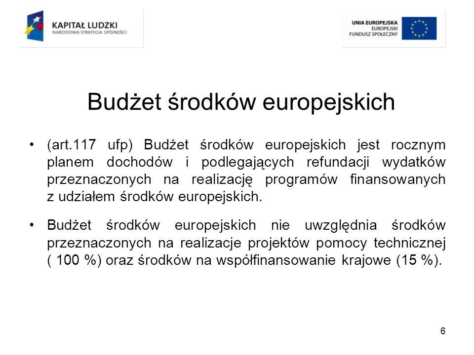 7 Budżet środków europejskich (art.119 ufp) Dochody budżetu środków europejskich ujmuje się w ustawie budżetowej wg: - części klasyfikacji budżetowej; - programów finansowanych z udziałem środków europejskich.