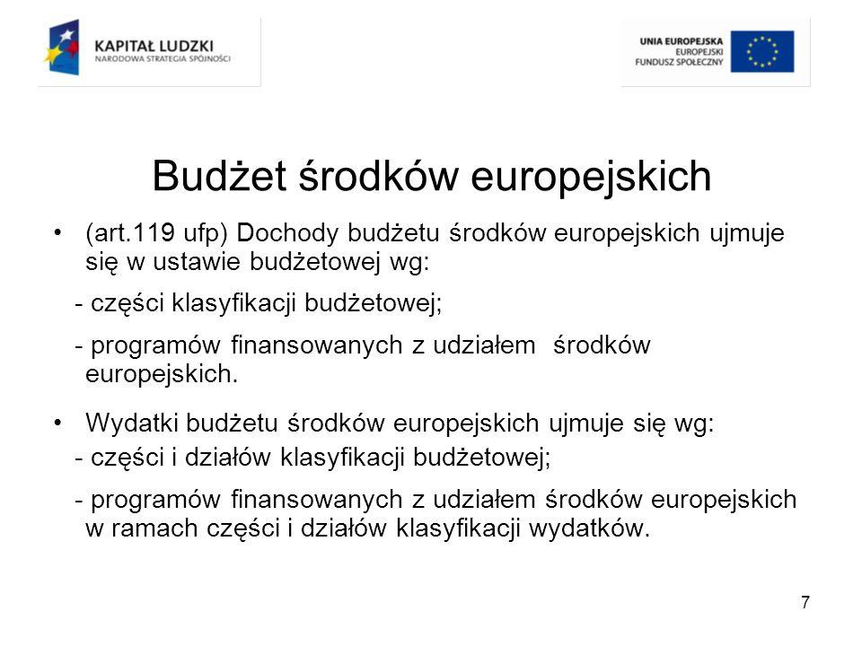 8 Budżet środków europejskich (art.118 ufp) Różnica pomiędzy dochodami a wydatkami budżetu środków europejskich będzie stanowić odpowiednio nadwyżkę budżetu środków europejskich lub deficyt budżetu środków europejskich, które nie będą wliczane do, odpowiednio, deficytu lub nadwyżki budżetu państwa.